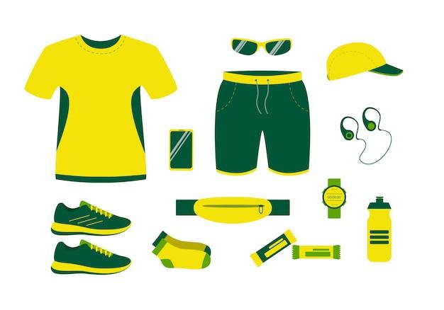 여름에 장비를 실행합니다. 남자 운동선수를 위한 의류, 신발 및 액세서리.