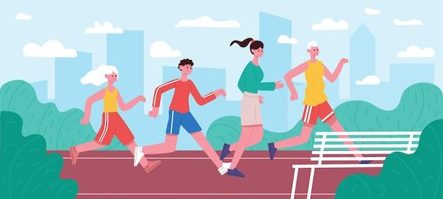 Бегущая семья. бег трусцой папа, мама и дети, активная мотивация воспитания здорового образа жизни, родители и дети, бегающие в парке векторная иллюстрация. семейный марафон