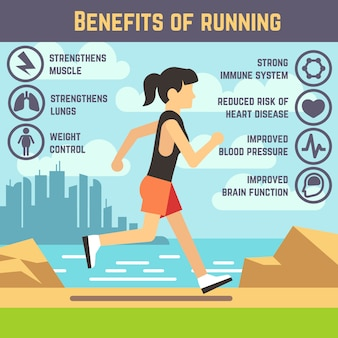 Running female, jogging women, cardio exercise. health care infographics. benefits of running