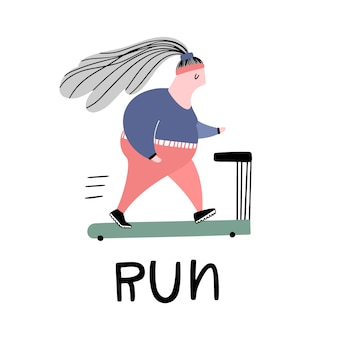 Running fitness girl on the treadmill. vector illustration and text in doodle style