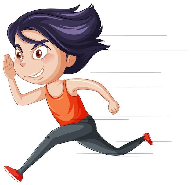 Personaggio dei cartoni animati di ragazza in esecuzione su sfondo bianco