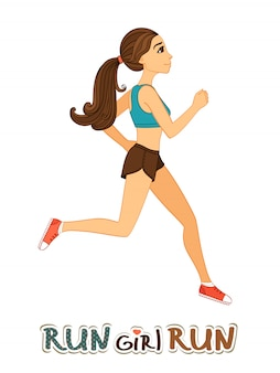Running girl isolated