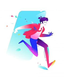 Running guy in a business suit.