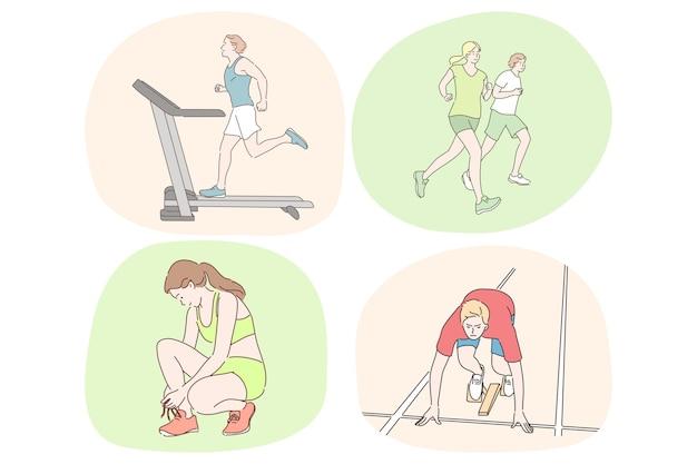 Бег, здоровый активный образ жизни, спорт, легкая атлетика, концепция тренировки.