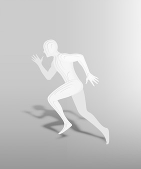 Running human in paper art style with 3d layer vector illlustration