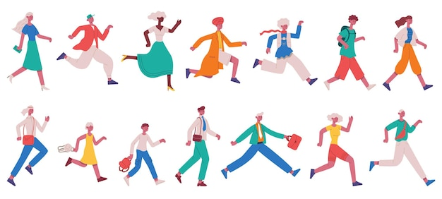 Running hurrying people. jogging adult characters and kids, hurrying business people vector illustration set. hurry running people