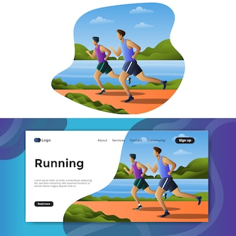 Running illustration landing page or web template