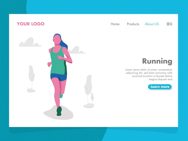 Running illustration for landing page