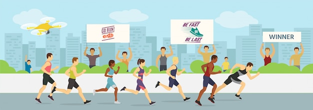 Running jogging marathons competitions race  illustration. sport runners group men and women in motion. running man finishing first. city .