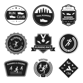 Running and jogging trial equipment winner labels set isolated