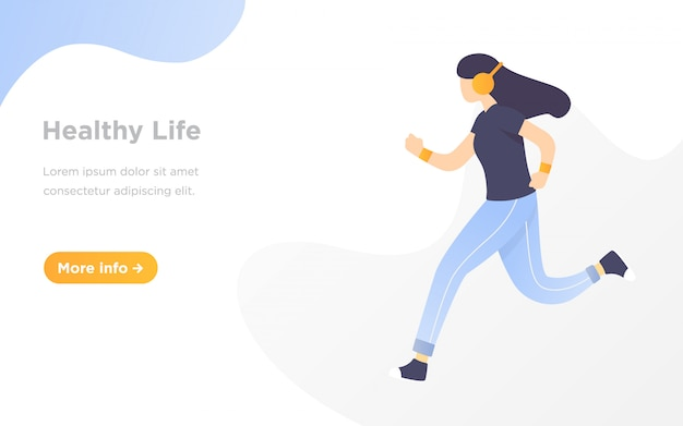 Running landing page illustration