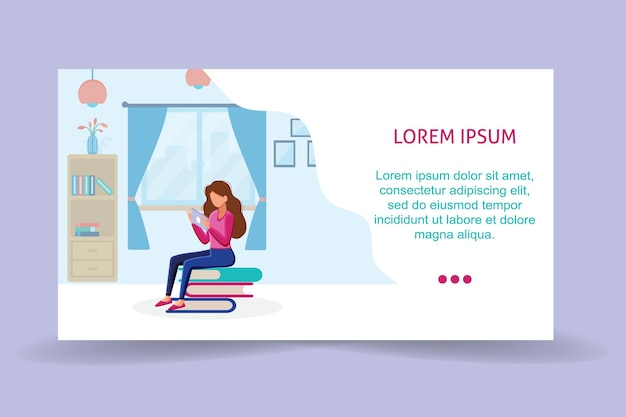 Running landing page template girl sitting on pile of books with tablet in her hands