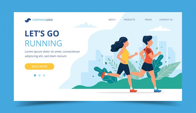 Gym promotion landing page with image Vector | Free Download