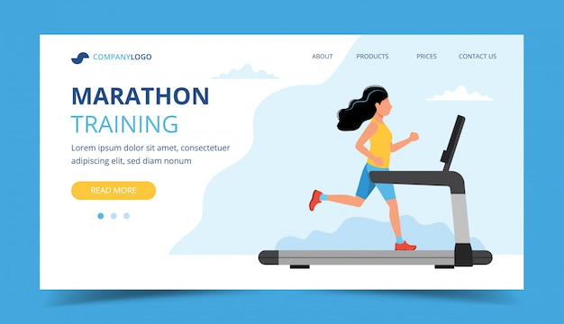 Running landing page template. woman running on the treadmill.