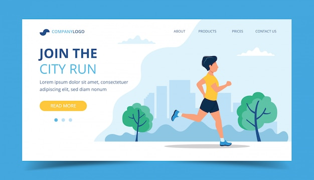 Running landing page template