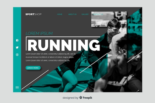 Running landing page with photo