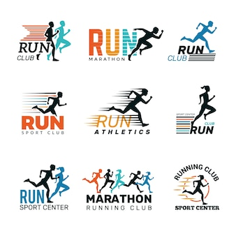 Running logo. marathon club badges sport symbols shoe and legs jumping running people vector collection. sport speed, fitness runner distance, club run illustration