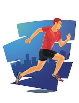Running man in detailed vector illustration