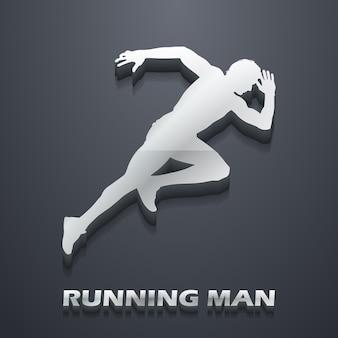 走る男のイラスト。クリエイティブでスポーツスタイルのイメージ