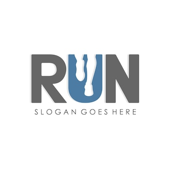Running man, jogging and marathon logo template design