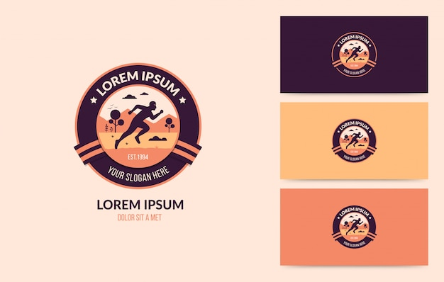 Running man logo badge set
