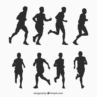 Running man silhouettes collection