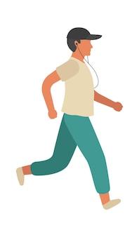 ランニングマン。ヘッドフォンで音楽を使ってトレーニングとジョギングをするシンプルな若いアスレチックキャラクターの男。公園での野外活動、フィットネス健康的なレジャーライフスタイル。フラットベクトル漫画孤立したイラスト