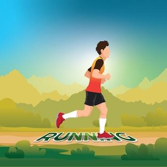 Running man. trail running marathon runner