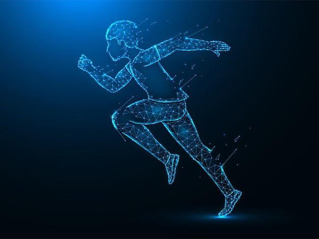 Running man with destruction effect low poly art. exercise or marathon run polygonal  illustrations on a blue background.