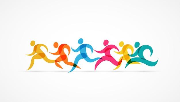 ランニングマラソンカラフルな人々のアイコンとシンボル Premiumベクター