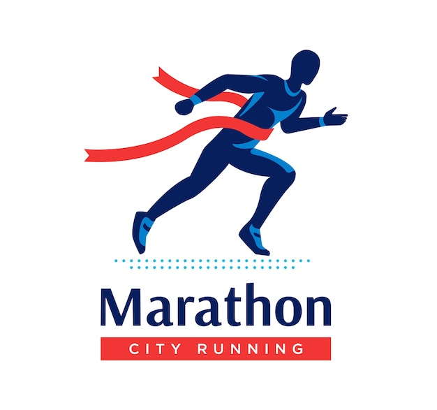 Running marathon logo or label.