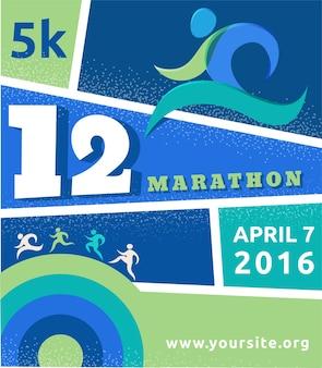 ランニングマラソンの人々はカラフルなポスターを実行します Premiumベクター