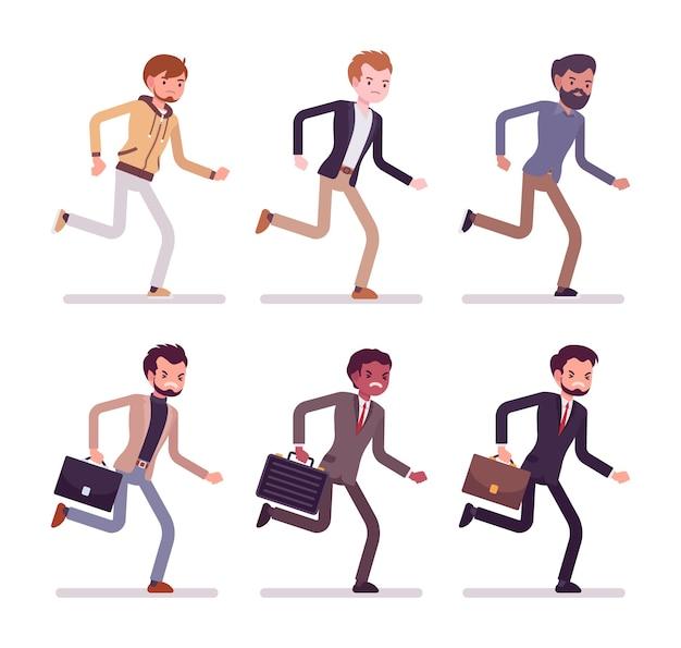 Running men in casual wear
