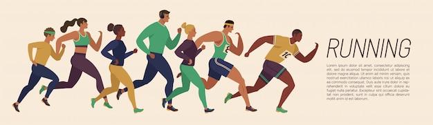 Running men and women sports banner.