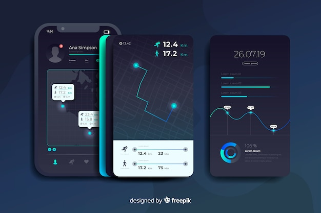 Running mobile app infographic flat design