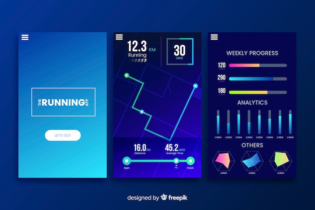 Running mobile app infographic flat design