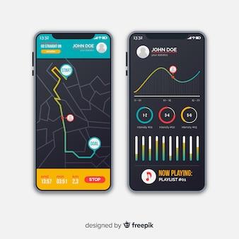 모바일 앱 infographic 플랫 스타일 실행