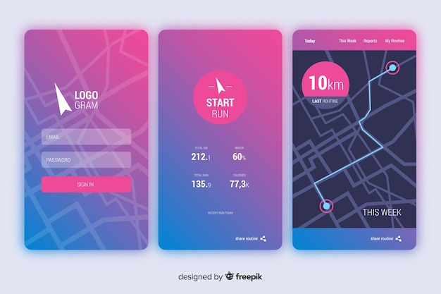 Running mobile app infographic flat style