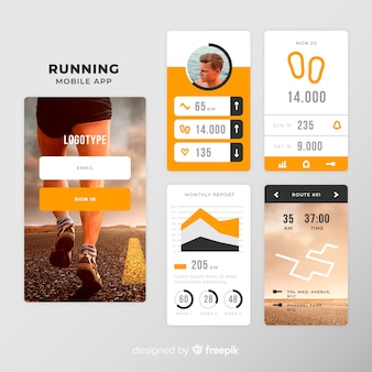 Running mobile app infographic template