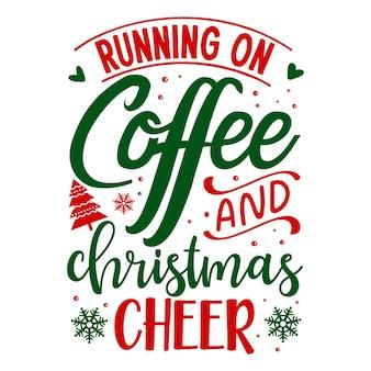 Бег за кофе и рождественское настроение уникальный элемент типографии premium vector design