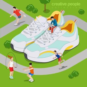 야외 스포츠 생활 개념을 실행합니다. 등거리 변환 아이소 메트릭 스타일 웹 사이트 그림입니다.