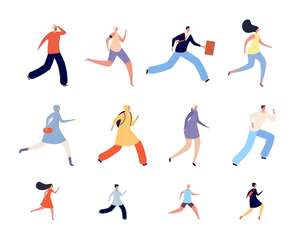 Running people characters. athlete woman, runners or joggers in sportswear. active human run, isolated adults kids hurry vector illustration. jogger training, healthy sporty run for wellness