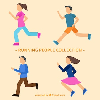 Running people collection in flat design