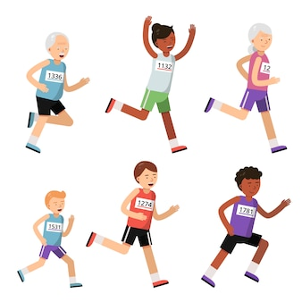 Running people of different ages. sport characters. marathon