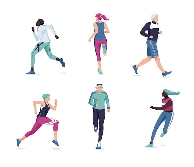평평하게 달리는 사람들. 다인종 주자, 운동 선수, 낚시를 좋아하는 남성과 여성 만화 캐릭터. 마라톤, 운동 및 운동. 고립 된 스포츠 훈련