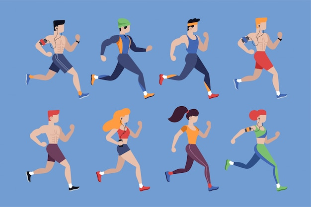 Running people. jogging men and women in sportswear isolated characters set in flat style. athletic and healthy lifestyle vector illustration. outdoor activity, marathon running and sport competition