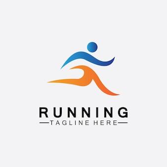 Бегущие люди логотип символ векторные иллюстрации дизайн. здоровый бег марафон спортсменов спринт векторный логотип