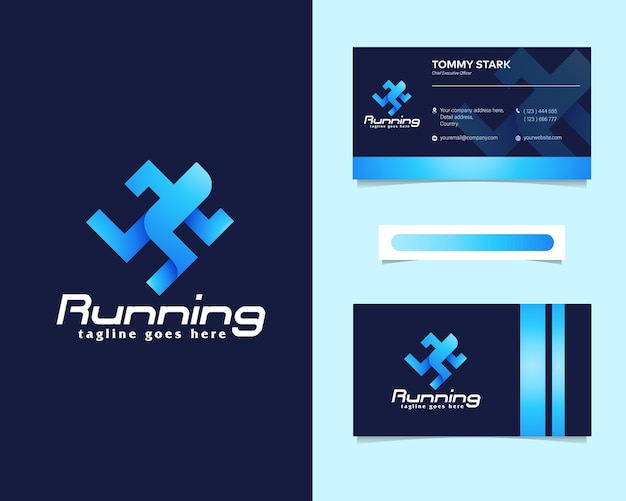 Running people logo with stationery business card