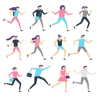 Running people. man and woman run, jogging workout and athletic sport runners. sports exercising isolated flat vector illustration