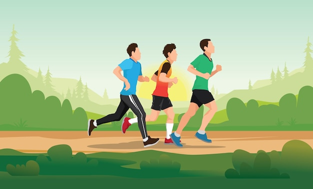 Running people. trail running marathon runner
